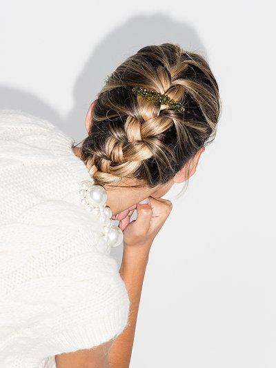green floral crystal hair clip