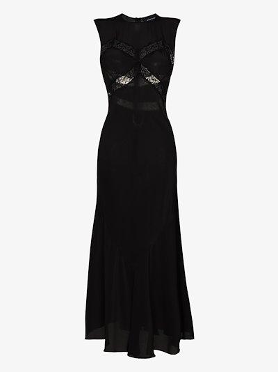 lace detail silk slip dress