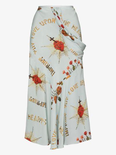 Printed asymmetric silk midi skirt