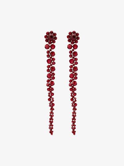 red crystal flower drop earrings