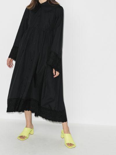 smock cotton maxi shirt dress