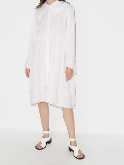 smock cotton midi shirt dress