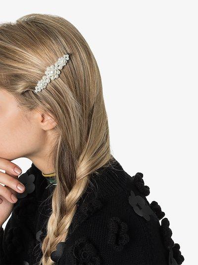 white large pearl flower hair clip