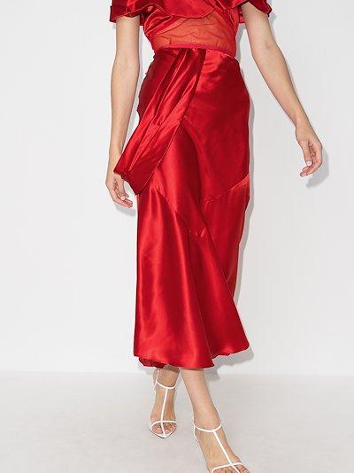 X Browns 50 asymmetric Silk Midi Skirt
