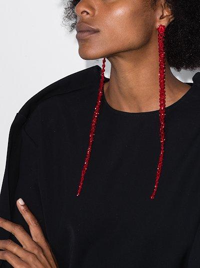 X Browns 50 Red crystal flower drop earrings