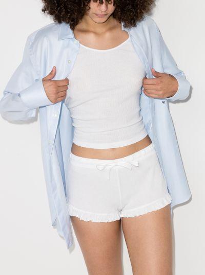 Raffaela ribbed ruffled shorts