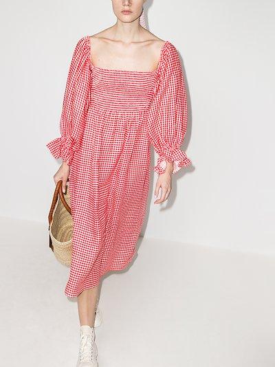 atlanta gingham midi dress