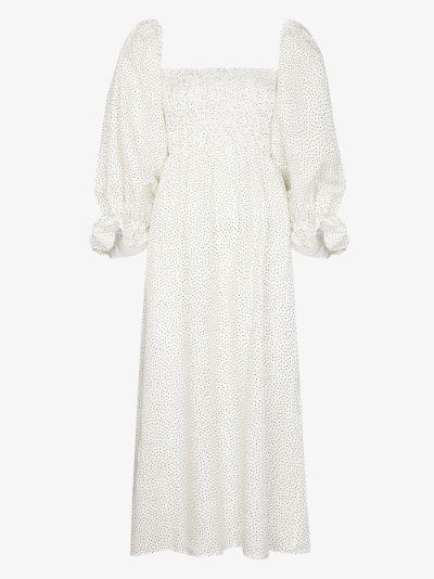 Atlanta polka dot linen midi dress