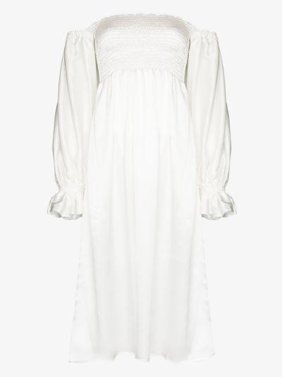 Atlanta ruched silk midi dress