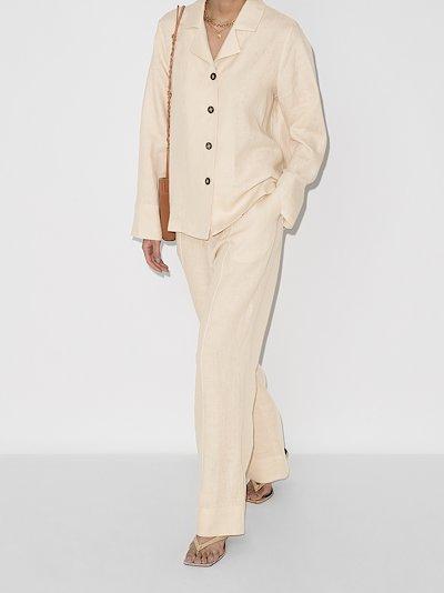 buttoned linen pyjamas