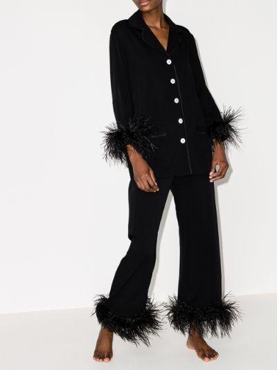 feather trim pyjamas