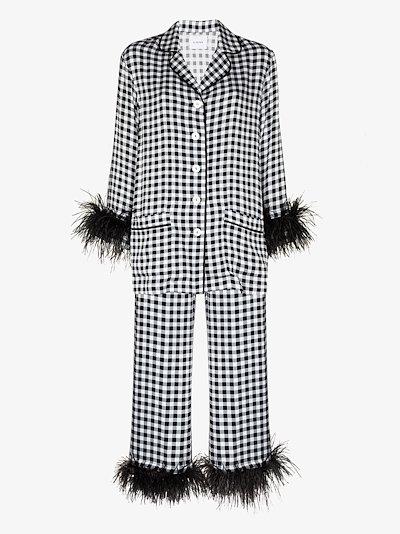 gingham check feather trim pyjamas