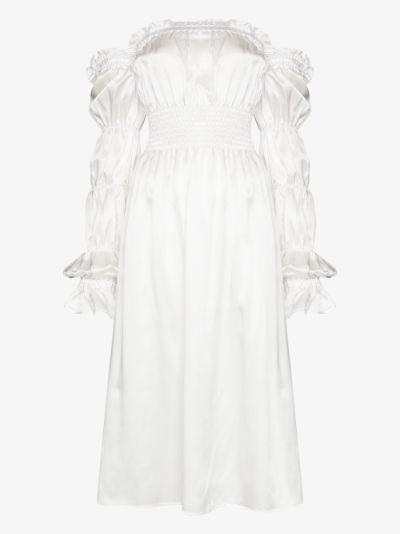 Michelin ruched silk midi dress