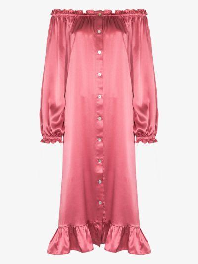 off-the-shoulder silk nightdress