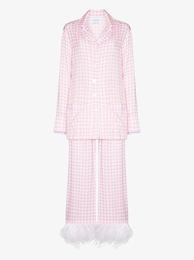 Party gingham feather trim pyjamas
