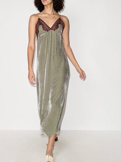 Freya lace trim velvet slip dress