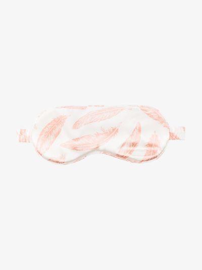 pink feather print silk eye mask
