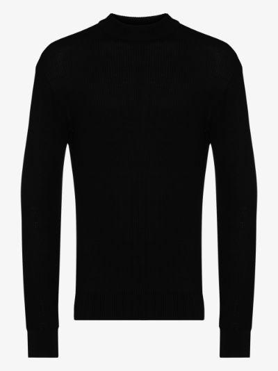 Black Waffle ribbed sweater