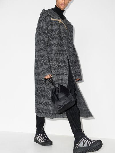 grey wool jacquard blanket coat