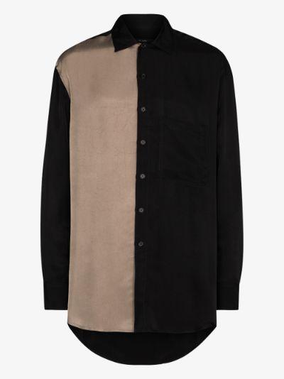 panelled long sleeve shirt