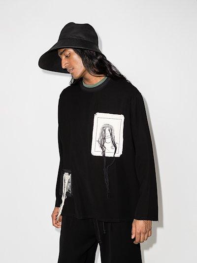 Portrait patch crew neck sweater
