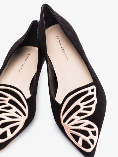 Black Bibi butterfly suede pumps