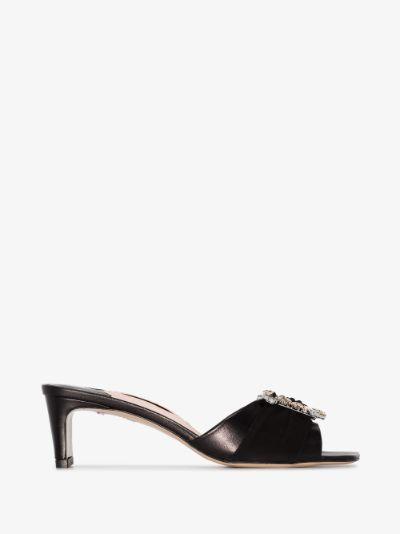 black Margaux 50 leather mules