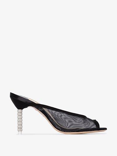 black simona 85 peep toe mules