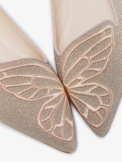 Gold Bibi Butterfly Glitter Pumps
