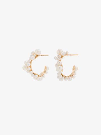 14K yellow gold mary pearl hoop earrings