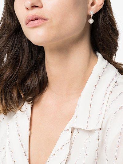 14kt yellow gold diamond pearl earrings