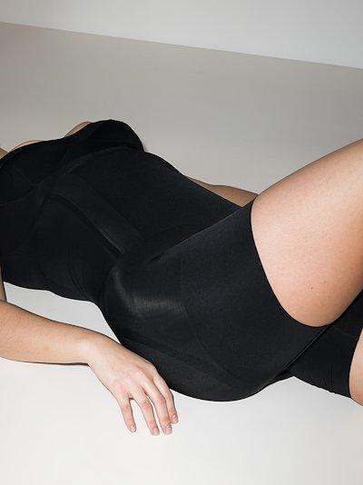 Black OnCore sculpting open bust bodysuit