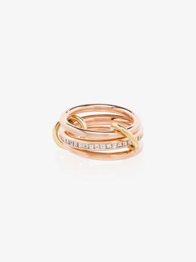 18K rose gold Rene diamond linked rings