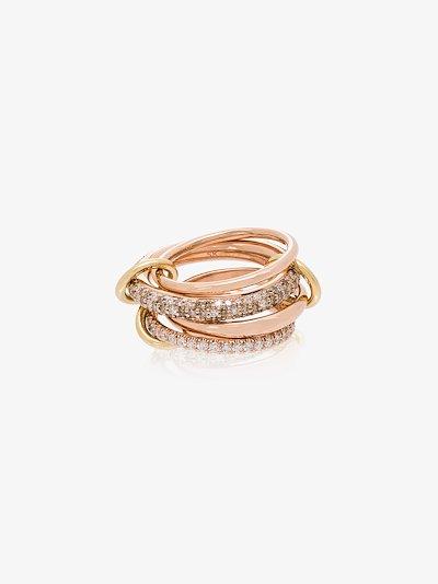 18K rose gold Vega diamond linked rings