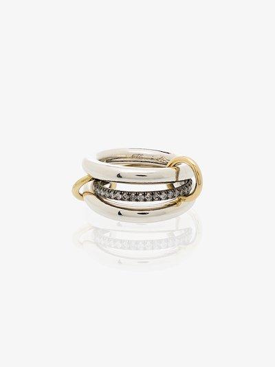 18K white gold Libra diamond linked rings