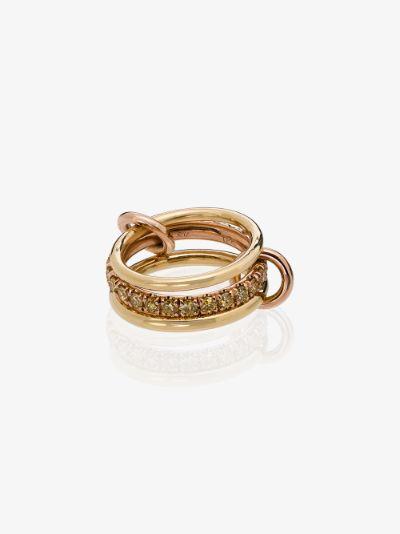 18K yellow and rose gold Petunia diamond linked rings