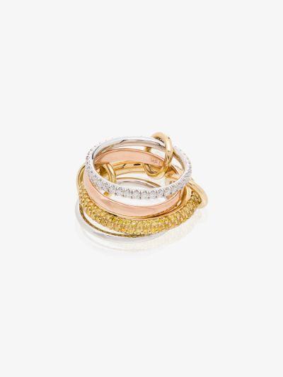 18K yellow and rose gold Vega diamond linked rings