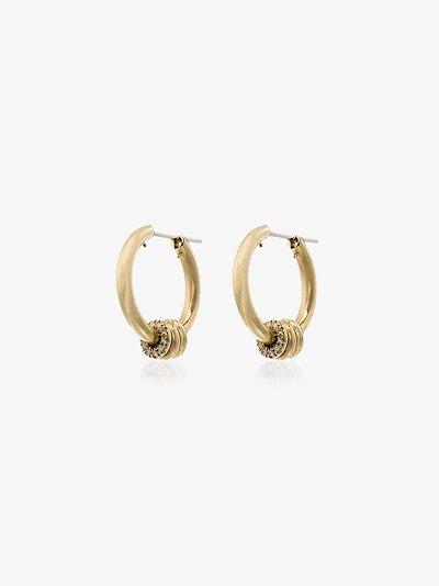 18K yellow gold Ara diamond hoop earrings