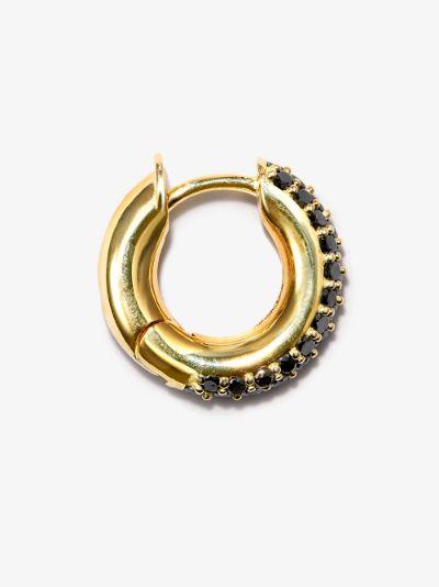18K yellow gold black diamond huggie earring