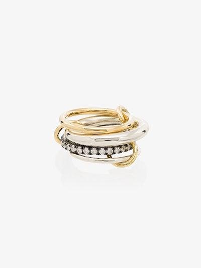 18K yellow gold Janssen diamond linked rings