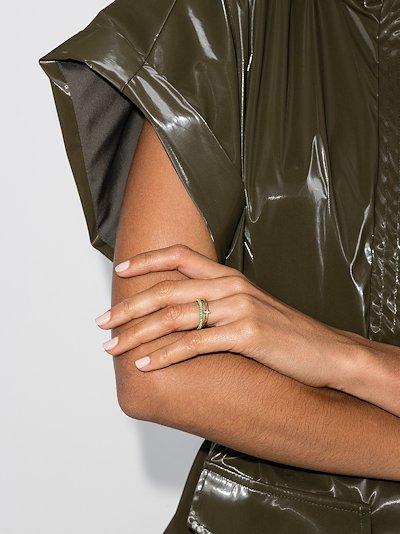 18K yellow gold linked emerald diamond ring