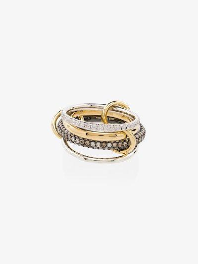 18K yellow gold Vega pavé diamond linked rings