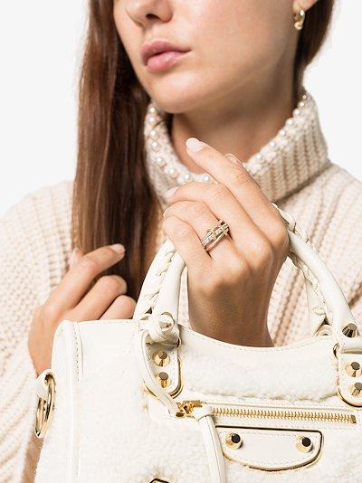 sterling silver Petunia diamond linked rings