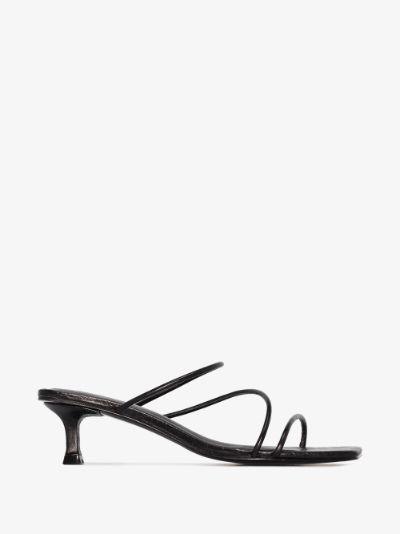 black Jackie 30 mock croc leather sandals