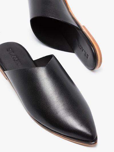 black Zuri leather mules