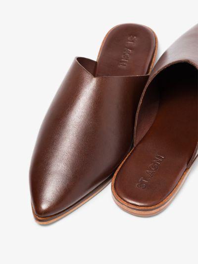 brown zuri leather mules