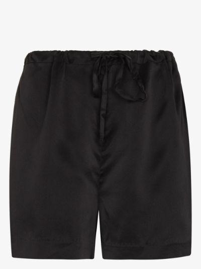 Norma tie waist silk shorts