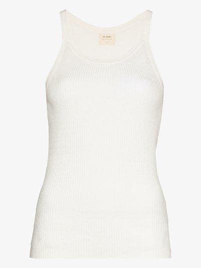 scoop neck linen tank top