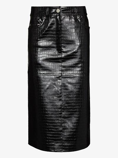 Arabella faux leather midi skirt