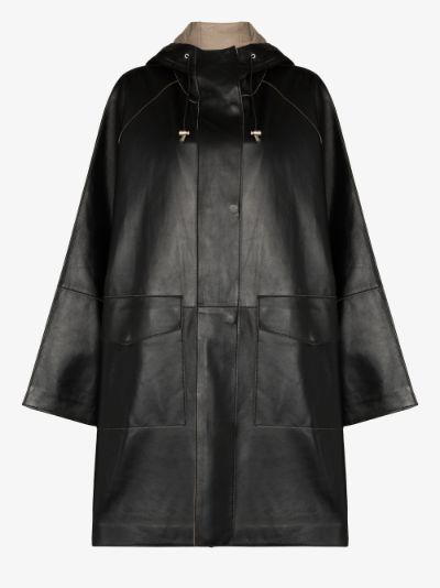 Dahlia hooded leather coat